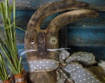 Primitive Vintage Style Farmhouse Bunny Rabbit Doll with Spring Carrots and Eggs Sweetpeas Primitives