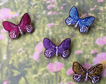 Small Embroidery Brooch Butterfly /blue-pink-purple-yellow