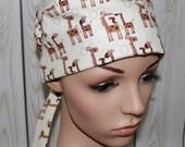 Giraffe's,Surgical Scrub Hat,Nurses Hat,Chemo Hat, Women's Surgical Scrub Hat,OR Nurses Hat, Vet, Biker