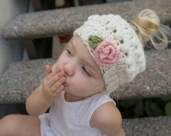 Toddler Messy bun beanie