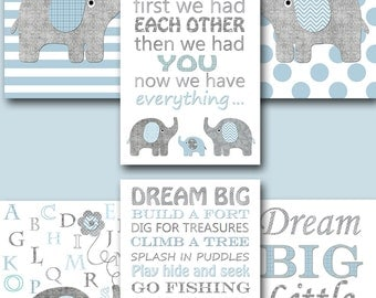 Blue Grey Elephant Canvas Print Baby Boy Nursery Quotes Baby Nursery Decor Nursery Art Kid Room Decor Nursery Wall Art Kid Wall Art set of 6