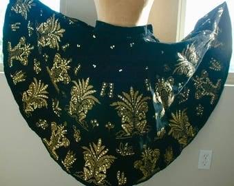 """Vintage Velvet & Sequin Painted Mexican Skirt - """"Golden Fiesta"""" - BIG SALE"""
