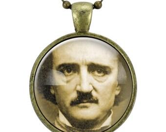 Edgar Allan Poe Necklace, Gothic Jewelry, Bronze (0379B25MMBC)