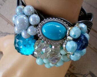 Chunky blue cuff bracelet, Recycled jewelry, Wedding jewelry, Repurposed jewelry, Handmade jewelry, Free USA shipping, Made in USA/Michigan