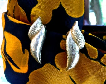 Vintage Earrings - Costume Earrings - GLAM - Puccini Italy - 1970's - Formal Clip Ons - Textured Finish - Abstract Design- Hipster - Indie