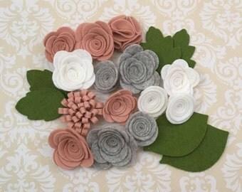 Handmade Wool Felt Flowers, Blushing Bride, White and Smokey Marble