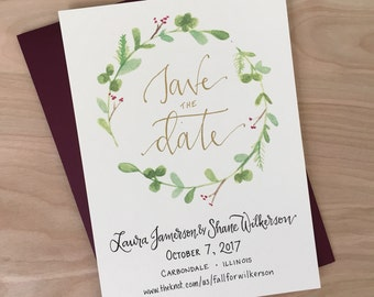 Save the Date Cards / Wreath Save the Date Wedding Invitaton / Outdoor Wedding Save the Date / Rustic Save the Date Announcement Card /Gold
