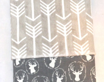 Silver/Gray Minky Archer Cuddle Pillowcase with Gray Deer Cuff in Cotton fabric