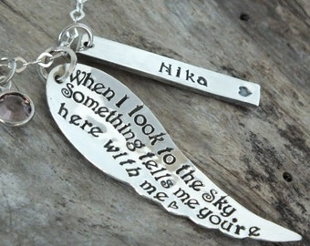 Memorial Jewelry Sympathy Gift - Sterling Silver Personalized Angel wing Necklace