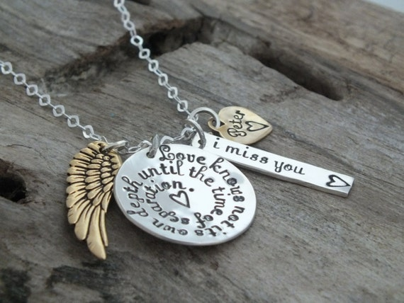 Angel Wing / Memorial Jewelry / Sympathy Necklace / Sterling Silver Personalized Necklace