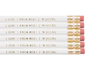 I DON'T KNOW What I'm Doing pencils. Back to school supplies. Funny pencil set. Gifts for grads. Graduation gift. Motivational pencil set.