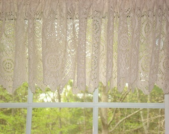 "Ivory Classic Lace Valance 58"" x 14"" (6 available)"