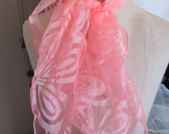 Scarf Solid Pink Patterned Sheer Nylon Scarf Square - Affordable Scarves!!! Why Pay More! (18C)