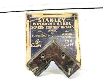 Vintage Stanley Hardware Advertising Screen Braces on Card General Store Tools