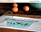 SALE Tea Towel: Vintage Pyrex Early American Flour Sack Tea Towel, Blue Turquoise and Gold
