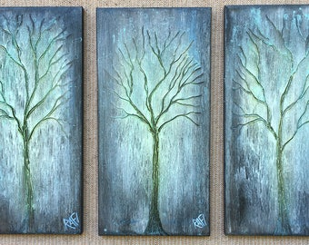 Winter Grove Trees Textured original painting by artist Rafi Perez Mixed Medium on Canvas 30X20 Triptych