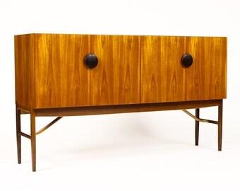 Danish Modern Large Teak High Board / Credenza / Cocktail Cabinet — Kofod Larsen — G-Plan