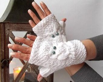 White Christmas Owl Gloves. Knit Fingerless Gloves. Knitted Short Gloves. Knit Mittens. Owl Mittens. Wrist Warmers.