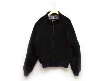 80s Black Leather Suede Coat Jacket Men's Small Zip Up