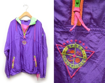 90s Purple Neon Windbreaker Jacket Men's Large XL Half Zip