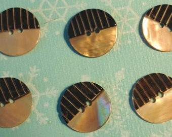Set of 6 Vintage  Carved Mother of Pearl Buttons-Item# 525