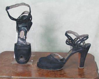 1940s Platform Heels Vintage 1940s Shoes Peep Toe Wrap Ankle Strap Swing USO WWll Navy Blue