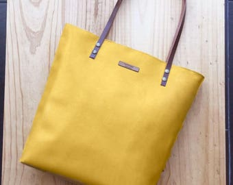 Mustard Leather tote, yellow leather bag,custom color inside,whit your name,custom color leather straps,handbag,Tote bag,minimalistic bag