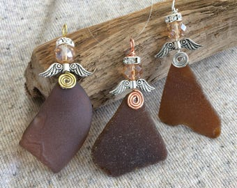 Sea glass Angel, Guardian Angel Ornament, handmade Sea Glass Ornament, Sea Glass Suncatcher,memorial Angel, new driver gift