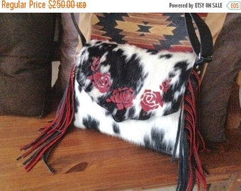ON SALE Western red leather rose and black and white hair on hide fringe purse