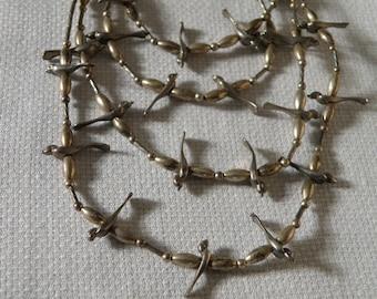 Native American Sterling Silver Bird Fetish Multistrand Necklace -