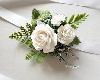 Wrist Corsage, Prom Corsage, Spring Wedding, Forest Wedding, White Corsage, Rose Corsage, Womans Wrist Corsage, Woodland Wedding, SERENITY