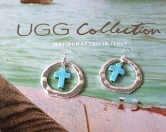 Silver Hoop Earrings Turquoise Cross  Beaconhillcollect  We Ship Internationally