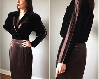 Vintage Escada Velvet + Silk Tux Skirt Suit