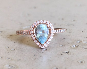 Rose Gold Aquamarine Engagement Ring- Halo Pear Shape Aquamarine Ring- Aquamarine Promise Ring- Alternative Engagement Ring- March Ring