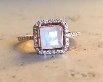 Moonstone Princess Cut Engagement Ring- Rose Gold Moonstone Engagement Ring- Halo Moonstone with Diamond Promise Ring- June Birthstone Ring