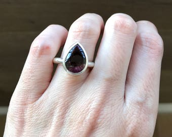 Pear Shaped Tourmaline Ring- Unique Engagement Ring- October Birthstone Ring- Simple Promise Ring- Alternative Engagement Ring-