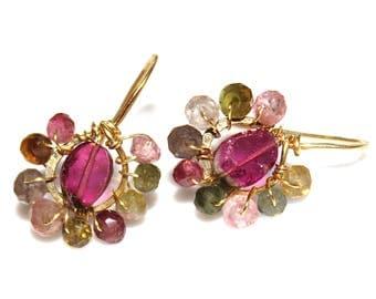 Watermelon Tourmaline Slice Earrings Delicate Earrings Minimalist Jewelry Gold Hoop Small Earrings Rainbow Tourmaline Raw Gemstone Jewelry