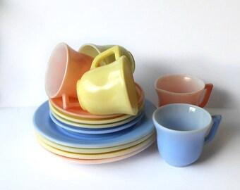 ON SALE Vintage Child's Glass Tea Set 13 pieces Pastel pink blue green yellow