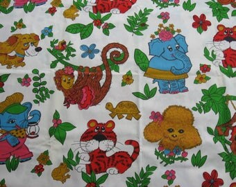 Vintage Children's Cotton Fabric, Colourful Jungle Cartoon Animals, Large Animal Print, 2 Yds
