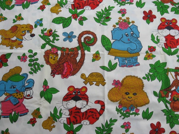 Vintage children 39 s cotton fabric colourful jungle cartoon for Childrens jungle fabric