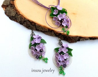 Lilac Jewelry, Flower Jewelry, Wedding Jewelry, Floral Necklace, Lilac Flower Earrings, Spiral Earrings, Romantic Jewelry, Spring Jewelry