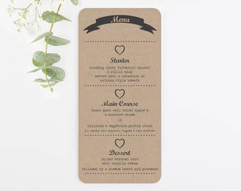 Wedding menu card - kraft rustic