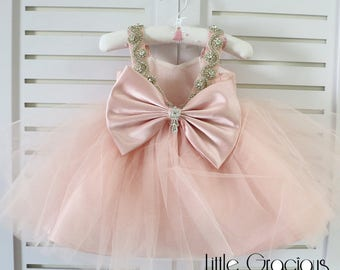 baby pink Toddler Easter Dress in Lace, Glitz Baby Girl Dress, Infant Pageant Dress LG014