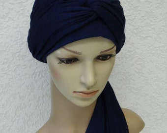 Women's full head covering, head snood, stretchy head wrap, volume turban with ties, bad hair day head cover, long or short hair head scarf