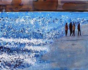 "Print of family walk on beach - art print """"Cool Blue light"" by Melanie McDonald - walking on the beach - art print - beautiful coastal art"