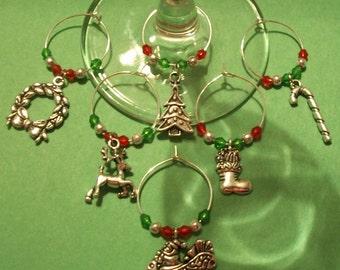 Cute Set of 6 Chrismas Wine Charms