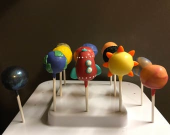 Rocket Ship and Planet Cake Pops