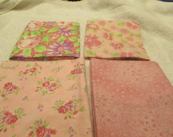 Fat quarter Bundle with 4 FQs from Moda  in rose. pink, green florals B7