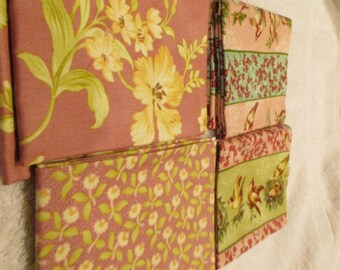Fat Quarter Bundle of 4 FQs in rose, pink, green, beige florals Moda C10