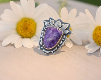 Thistle Ring - Charoite and Sterling Silver Botanical Inspired Cabochon Ring - Meadow Meanderings - US Size 7